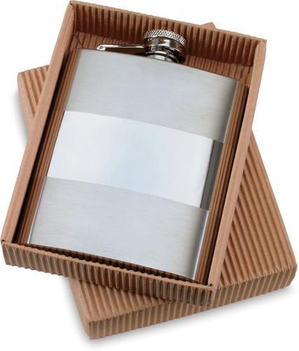 Kovová butylka s vodorovným pruhem v krabičce