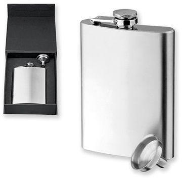 DUBLIN SET nerezová butylka s nálevkou v dárkové krabičce, 230 ml, chrom
