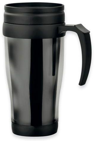 BRASCO plastový termohrnek s dvojitou stěnou, 400 ml, transp., frosty černá