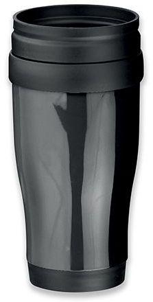 MARIO plastový termohrnek s dvojitou stěnou, 400 ml, černá