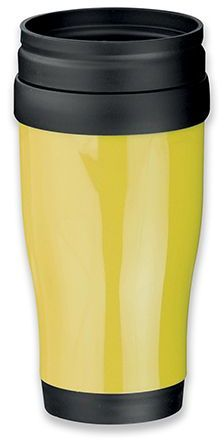 MARIO plastový termohrnek s dvojitou stěnou, 400 ml, žlutá