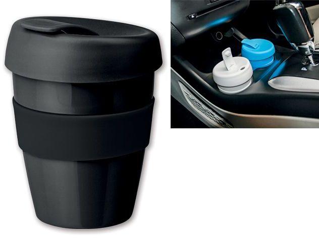 TUMBLER plastový pohárek s víčkem a silikonovým kroužkem, černá