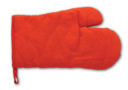Kuchyňská červená rukavice s potiskem