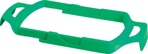 Zelený držák pytlů na odpadky