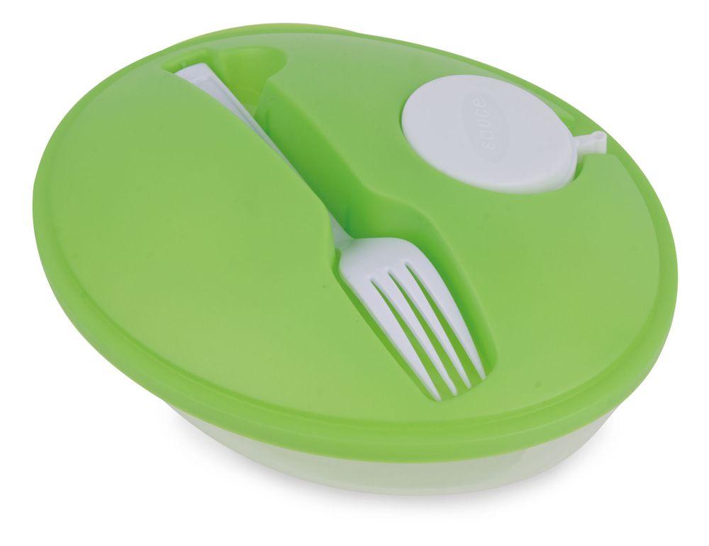 Oválná salátová krabička zelená s potiskem