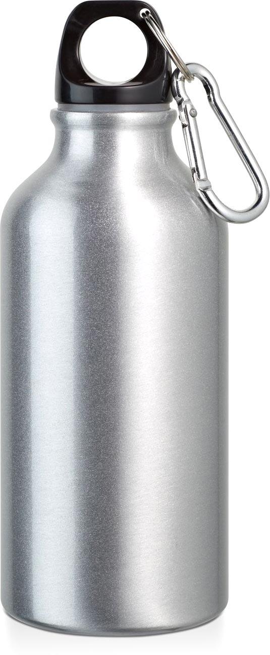 Sportovní láhev matně stříbrná s potiskem