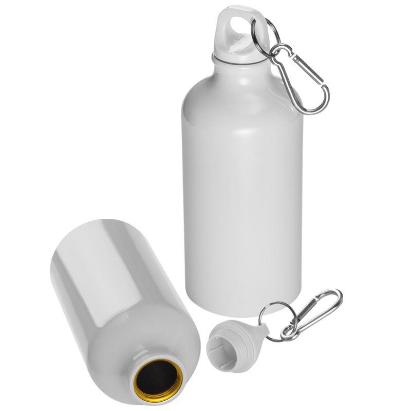 Kovová láhev bílá s potiskem