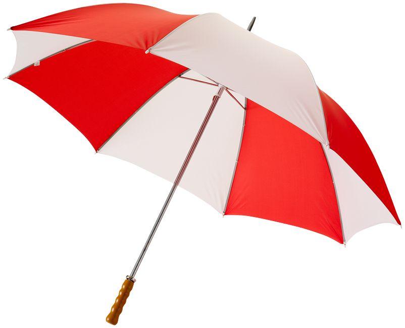 Golfový deštník 30 s dřevěnou rukojetí bílo-červený