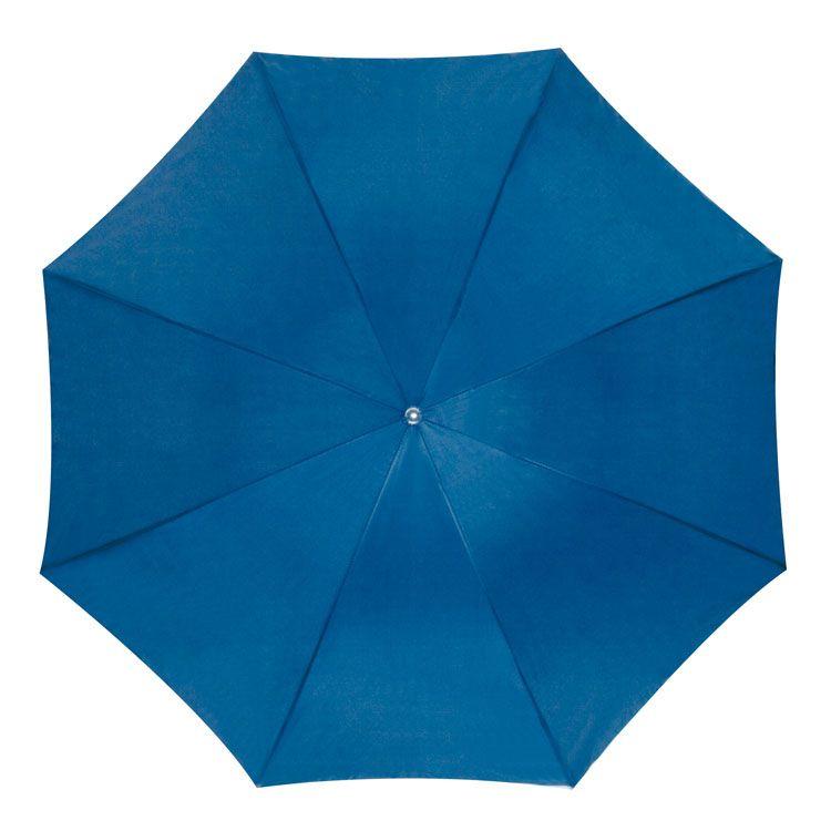 Světle modrý vystřelovací deštník