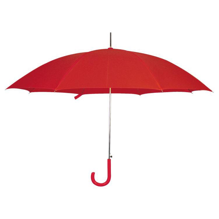 Červený vystřelovací deštník s potiskem
