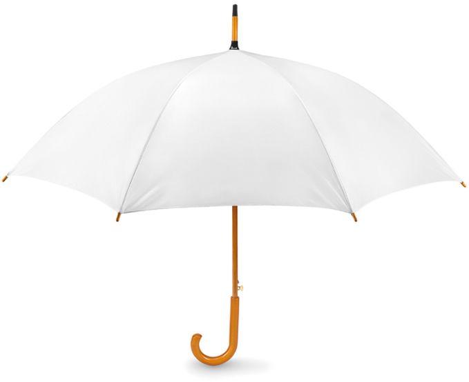 Bílý dřevěný vystřelovací deštník