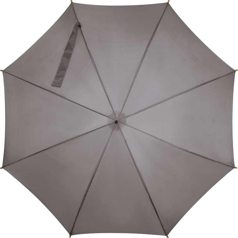 Šedý dřevěný vystřelovací deštník s potiskem