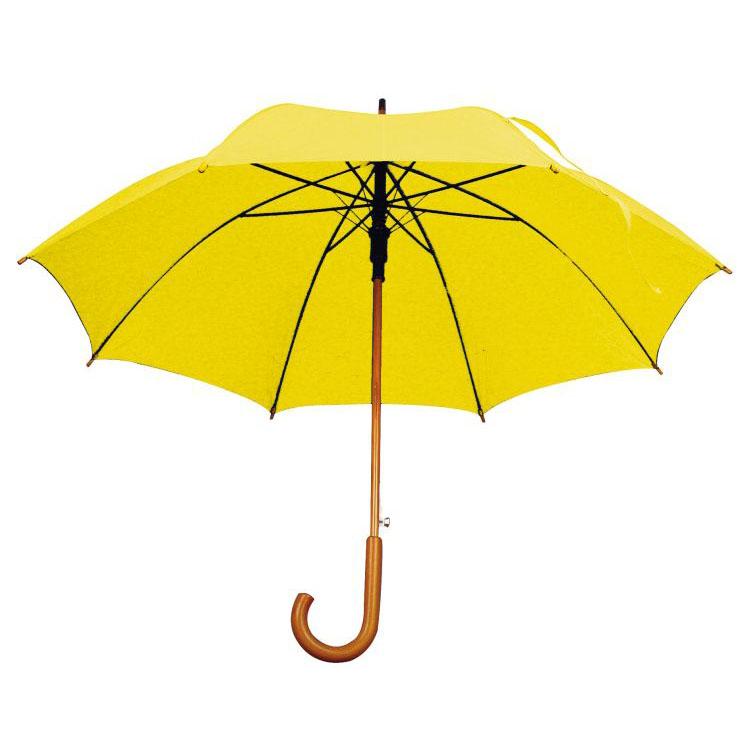 Žlutý dřevěný vystřelovací deštník