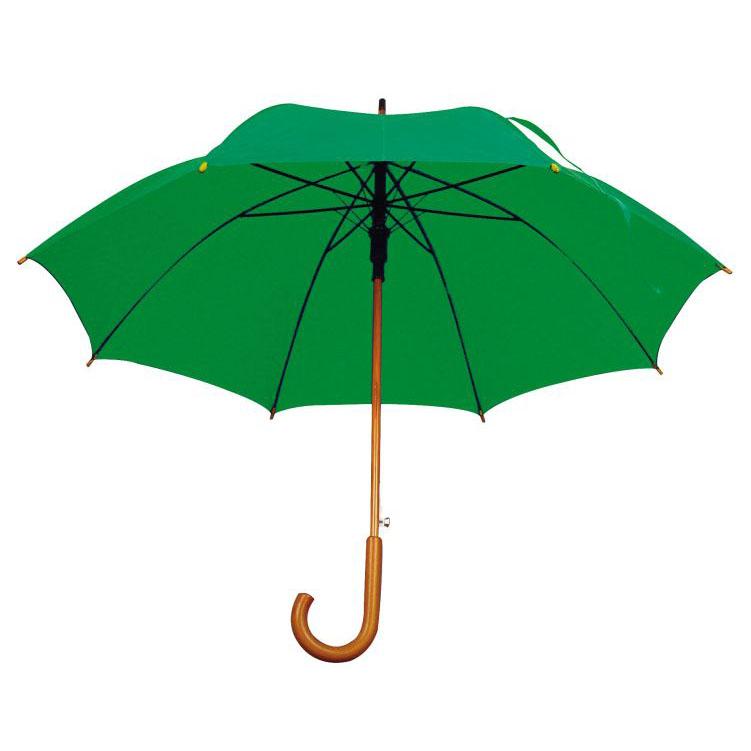 Zelený dřevěný vystřelovací deštník s potiskem