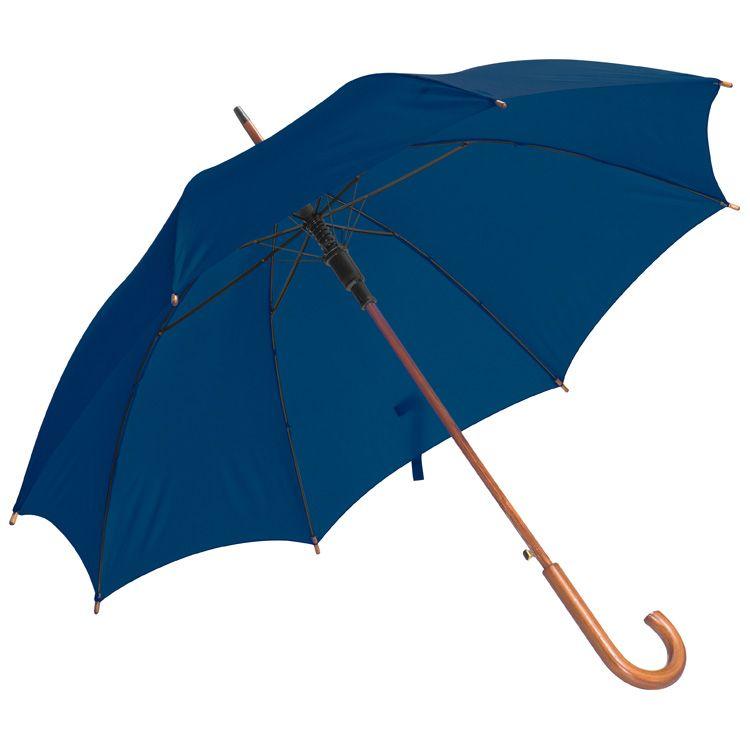 Tmavě modrý dřevěný vystřelovací deštník