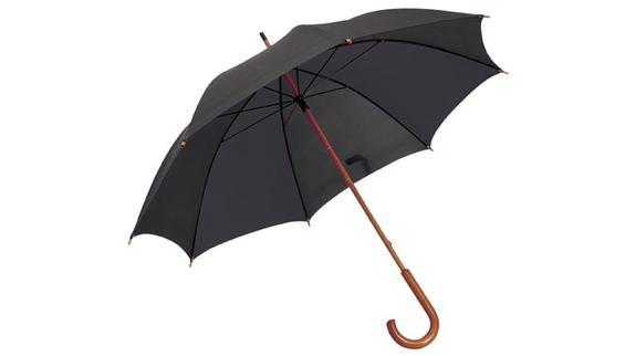 Černý deštník s dřevěnou rukojetí s potiskem