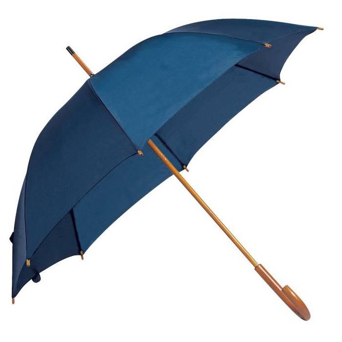 Deštník s dřevěnou rukojetí tmavě modrý