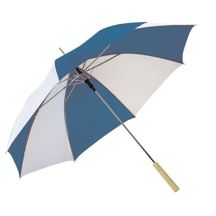Modro-bílý deštník s potiskem