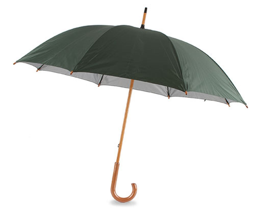 Deštník s dřevěnou rukojetí tmavě zelený