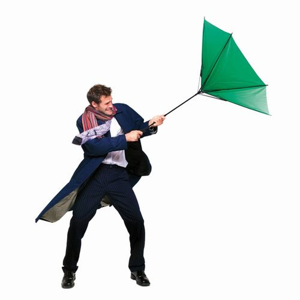 Větruvzdorný deštník zelený