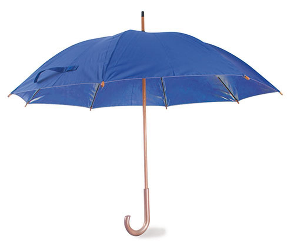 Deštník s dřevěnou rukojetí modrý