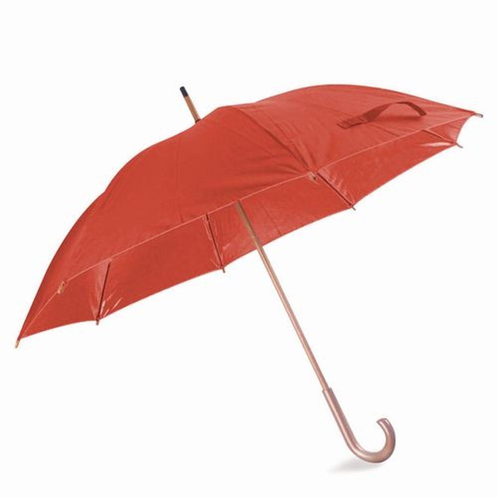 Deštník s dřevěnou rukojetí červený