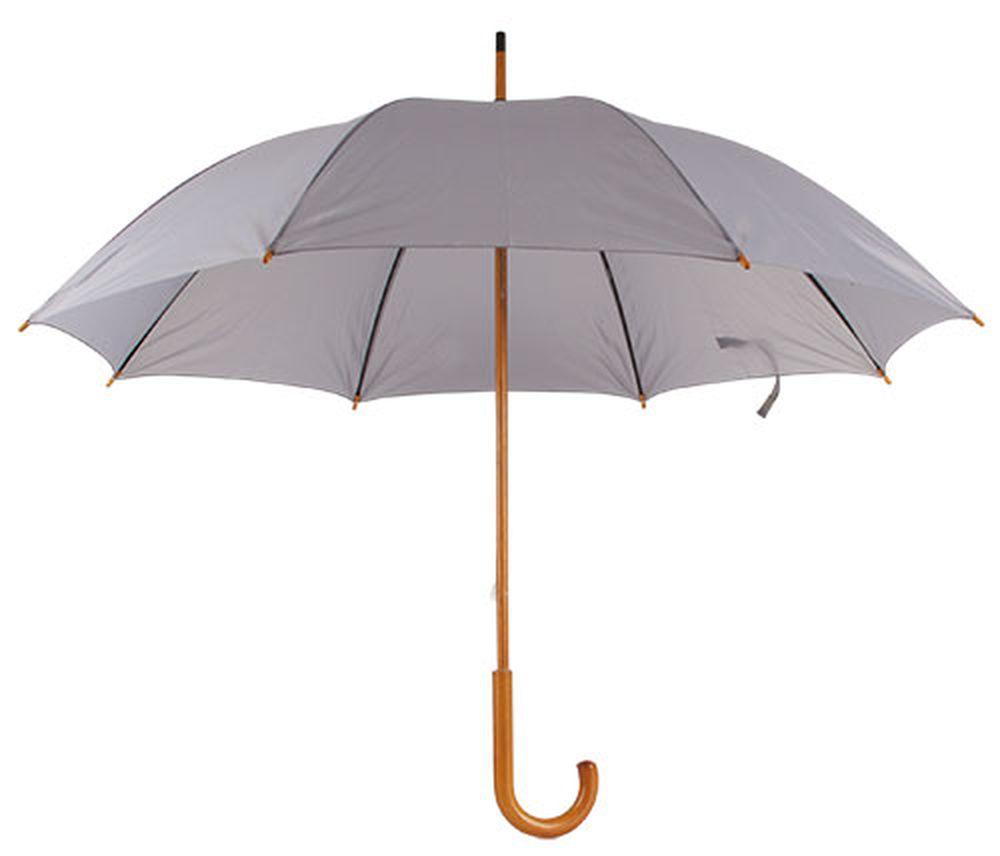 Deštník s dřevěnou rukojetí šedý s potiskem