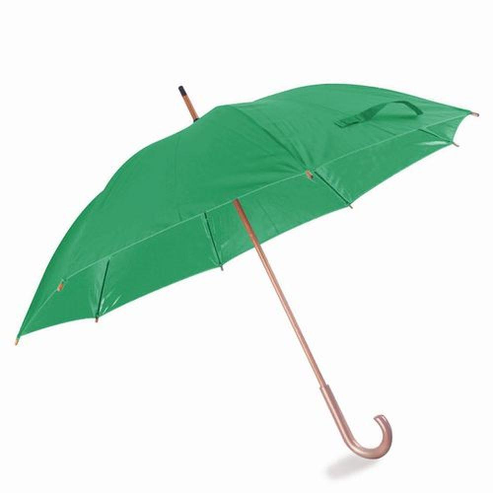 Deštník s dřevěnou rukojetí zelený