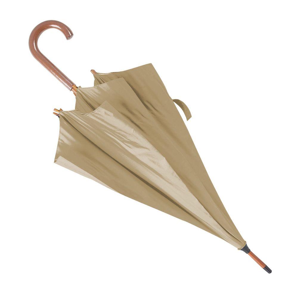 Deštník s dřevěnou rukojetí béžový