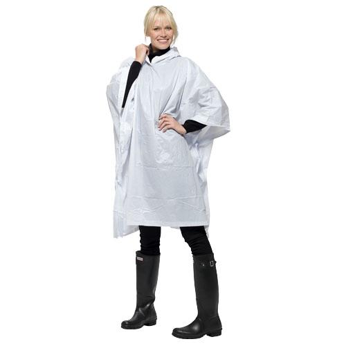 Bílá pláštěnka pončo