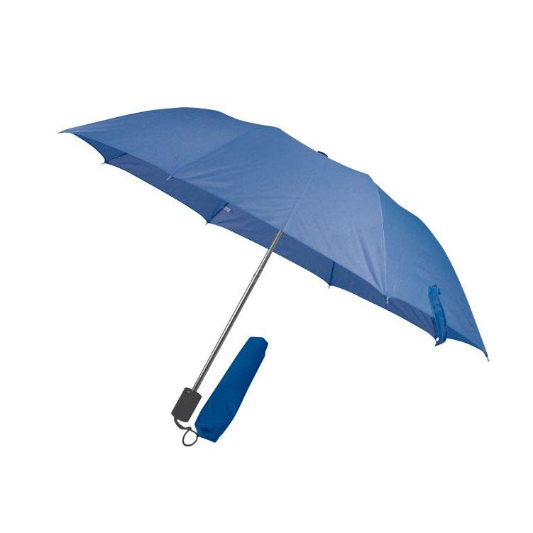 Modrý skladný deštník