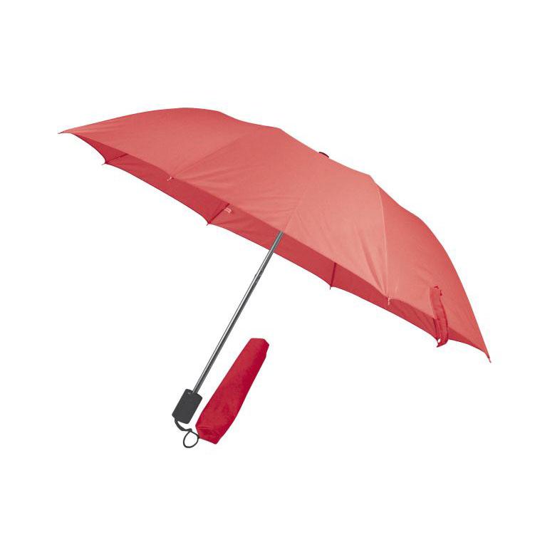 Čevený skladný deštník