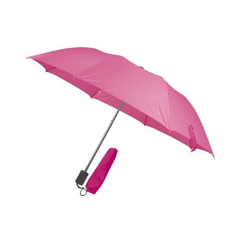 Růžový skládací deštník