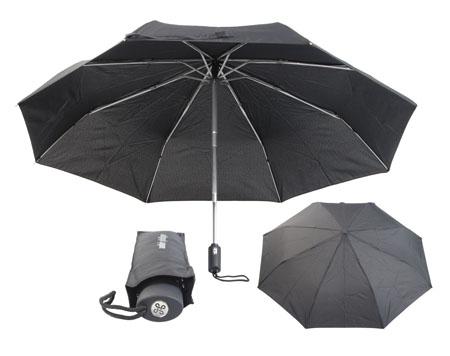 Černý skládací deštník automat