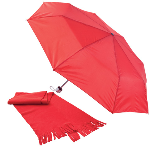 Bitem červená sada deštníku a šály