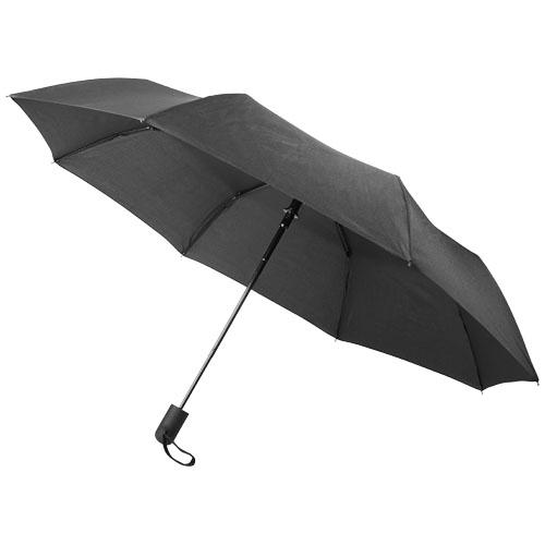 Skládací, automaticky otvíraný deštník Gisele, 21, s vřesově šedým páskem