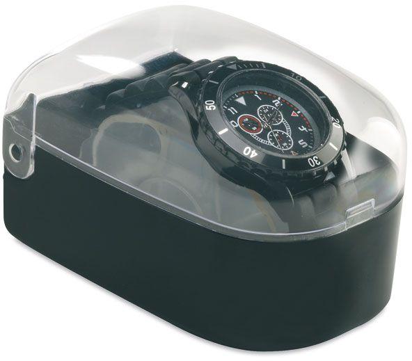 Černé hodinky v plastové krabičce