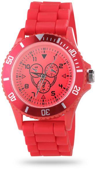 Červené hodinky v plastové krabičce