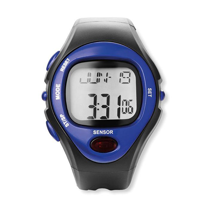 Modré digitální sportovní hodinky