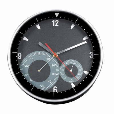 Černé nástěnné hodiny s teploměrem a vlhkoměrem