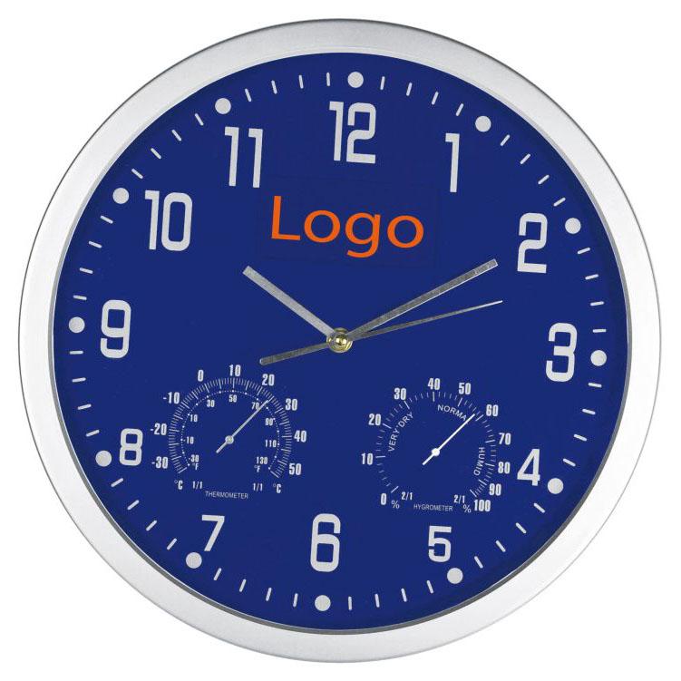 Modré nástěnné hodiny s teploměrem a vlhkoměrem