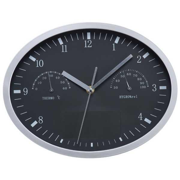 Černé nástěnné hodiny s vlhkoměrem