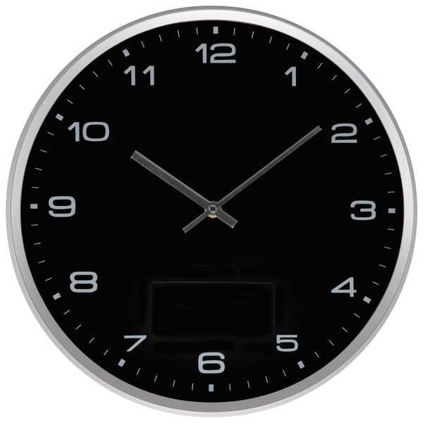 Černé nástěnné hodiny se stříbrným rámečkem