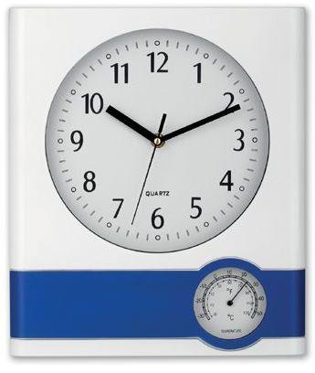 SELINA plastové nástěnné hodiny s teploměrem, bílá