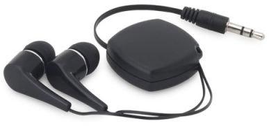Namotávací špuntová sluchátka černá