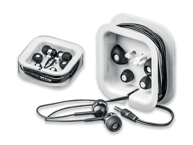 MULTIBUD plastová audio sluchátka s JACK kabelem a sadou ušních nástavců