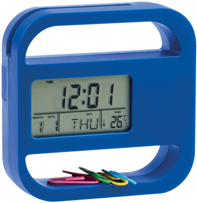 Modré stolní hodiny s kalendářem