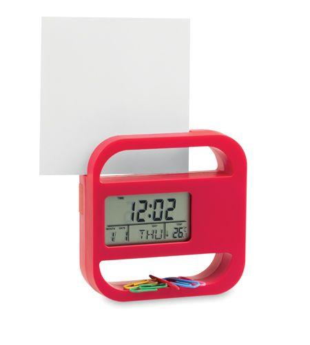 Červené stolní hodiny s kalendářem