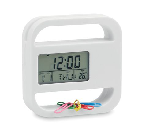 Bílé stolní hodiny s kalendářem