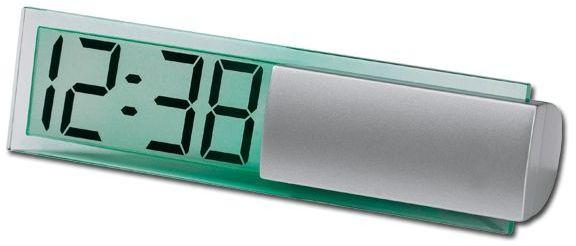 ICY plastové stolní hodiny, stříbrná